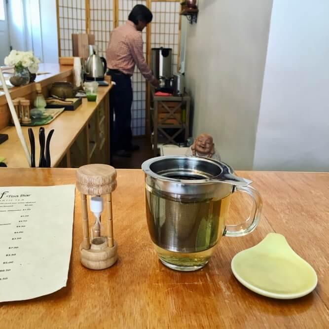 Tea steeping inside Leaf Tea Bar