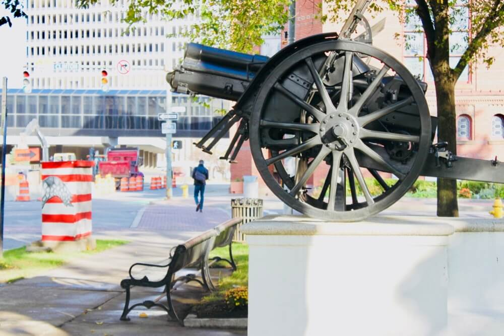 Sideview of the Austrian Cannon in Washington Square