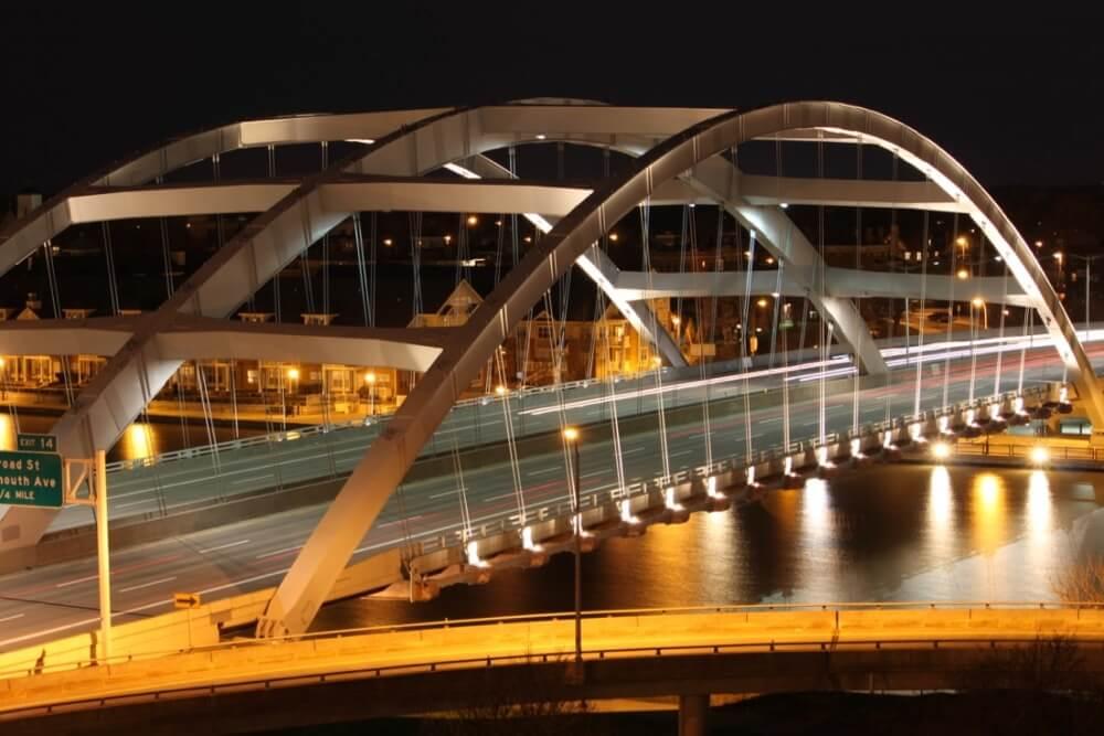 Evening traffic on the Frederick Douglass Susan B. Anthony Bridge
