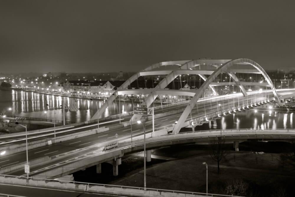 View of Frederick Douglass Susan B. Anthony Bridge from Capron Lofts