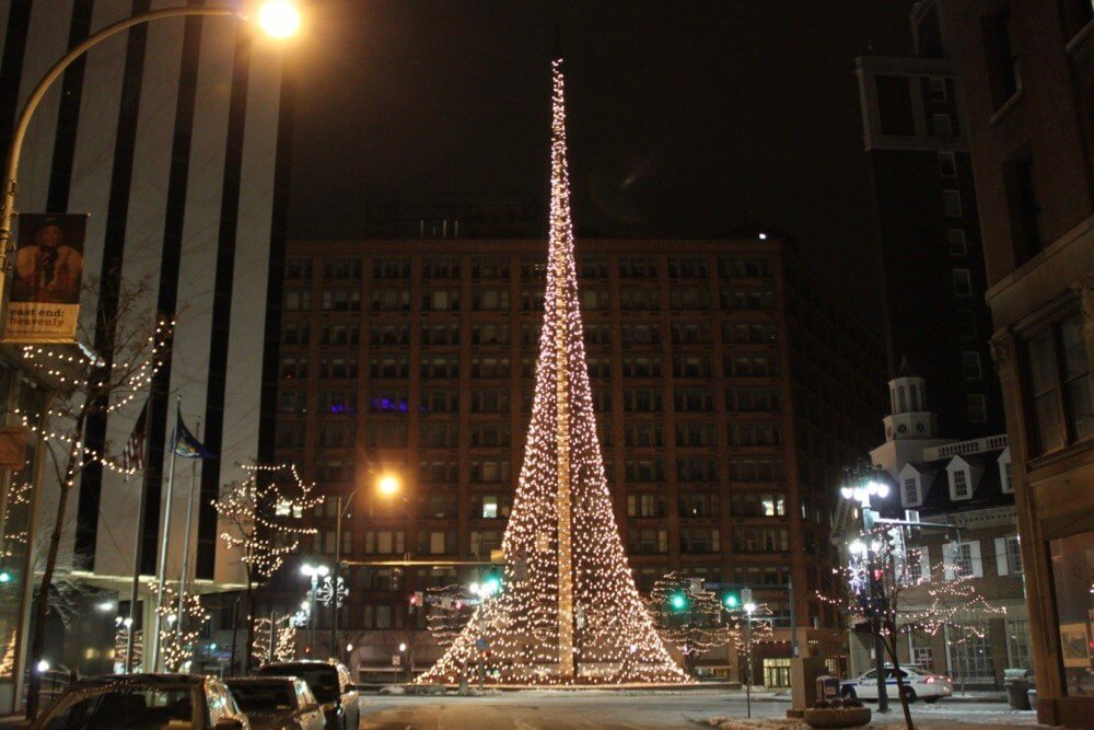 Liberty Pole in downtown Rochester at night