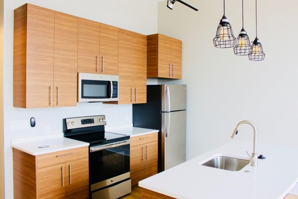 Inside the kitchen of Woodbury Place apartment