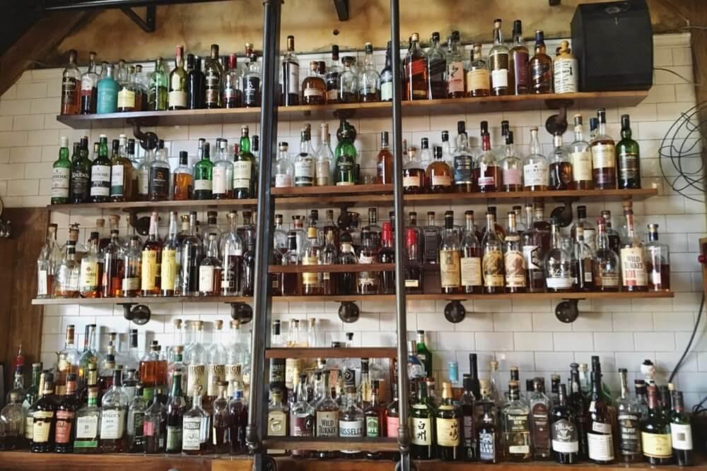 Whiskey Bottles behind the bar