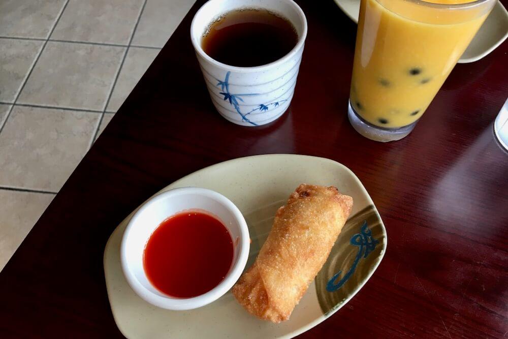 Egg Roll and Mango Bubble Tea