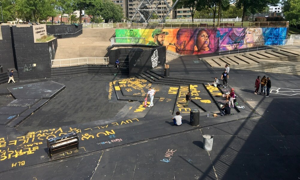 Black Lives Matter paintings in MLK Park