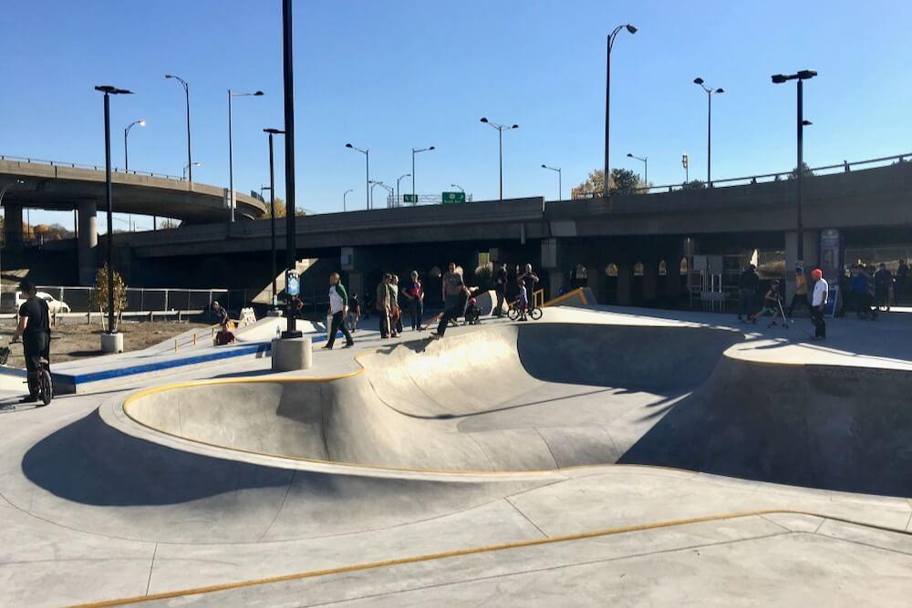 Skaters enjoying the open skatepark