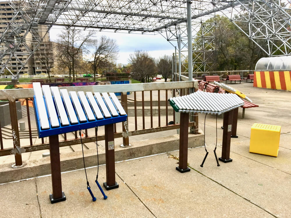 Two xylophones located outside MLK Jr. Memorial Park